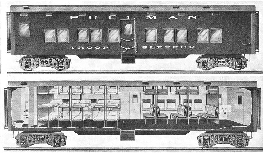 the pullman virtual museum pullman goes to war pullman troop sleepers. Black Bedroom Furniture Sets. Home Design Ideas